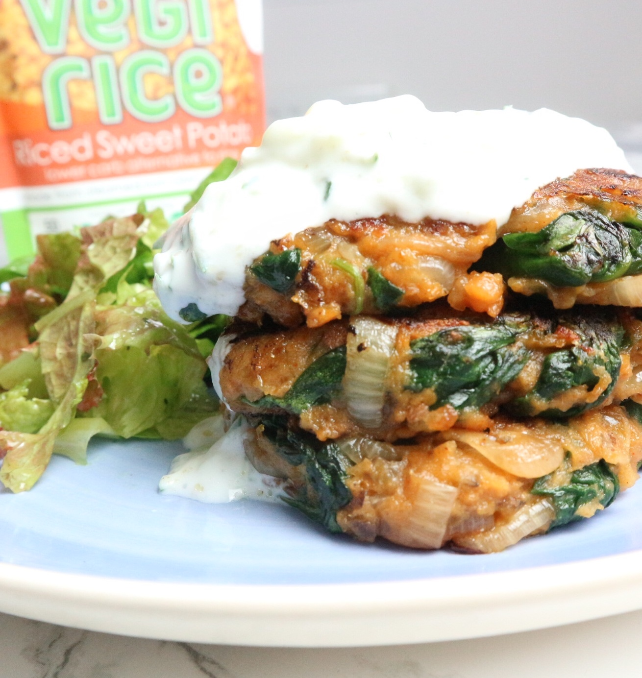 Sweet potato, onion and spinach fritters